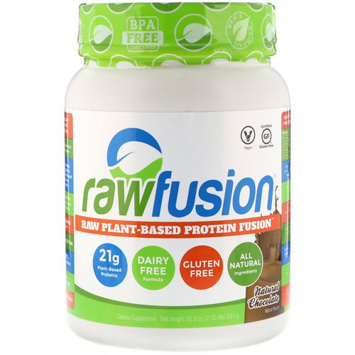 RawFusion, Raw Plant-Based Protein Fusion, Natural Chocolate, 2.05 lbs (931 g) فوائد