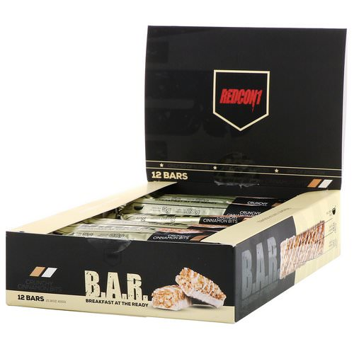 Redcon1, B.A.R. Breakfast at the Ready, Crunchy Cinnamon Bits, 12 Bars 1.76 oz ( 50 g) فوائد