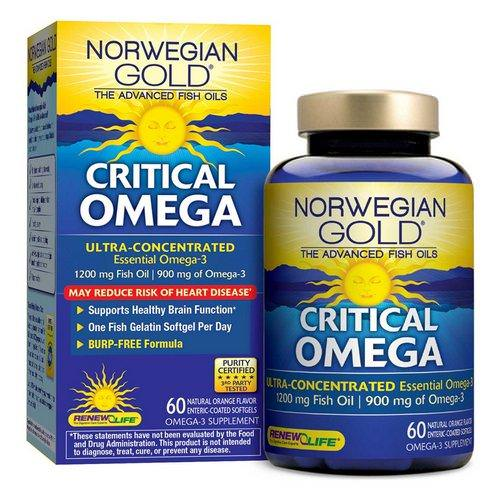 Renew Life, Critical Omega, Ultra-Concentrated, Natural Orange Flavor, 60 Enteric-Coated Softgels فوائد