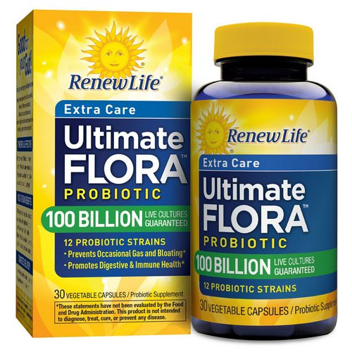 Renew Life, Extra Care, Ultimate Flora Probiotic, 100 Billion Live Cultures, 30 Vegetable Capsules فوائد