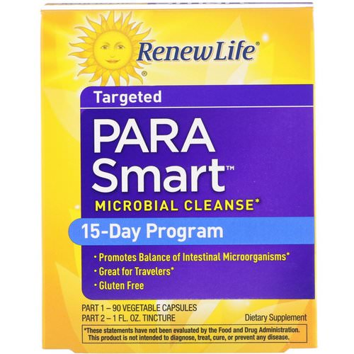 Renew Life, Targeted, ParaSmart, Microbial Cleanse, 2-Part 15-Day Program فوائد
