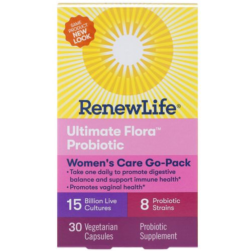 Renew Life, Women's Care Go-Pack, Ultimate Flora Probiotic, 15 Billion Live Cultures, 30 Vegetarian Capsules فوائد