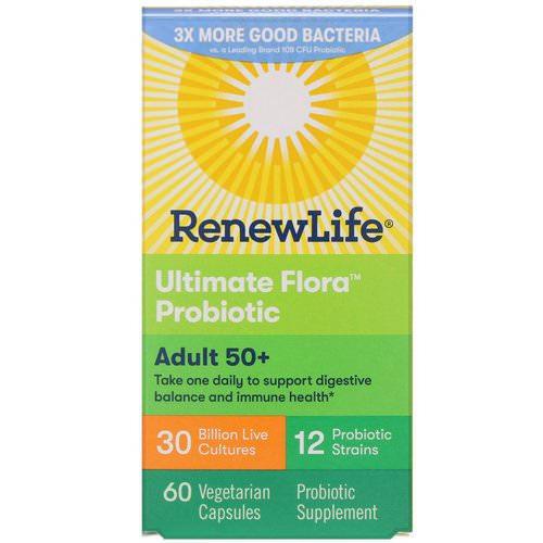 Renew Life, Ultimate Flora Probiotic, Adult 50+, 30 Billion Live Cultures, 60 Vegetable Capsules فوائد