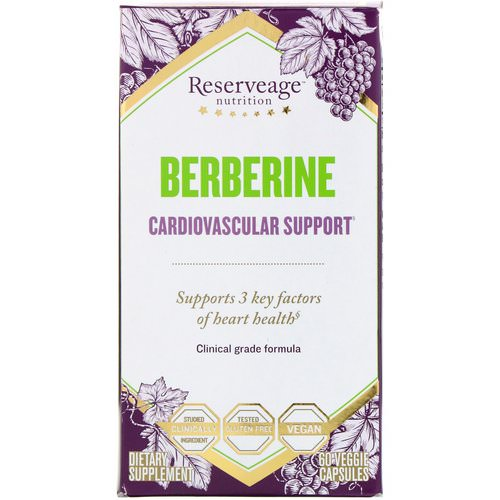 ReserveAge Nutrition, Berberine, Cardiovascular Support, 60 Veggie Capsules فوائد
