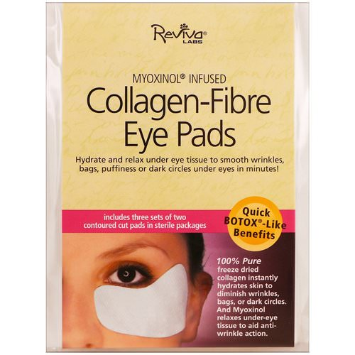 Reviva Labs, Collagen-Fibre Eye Pads, 3 Sets of Two Contoured Pads فوائد