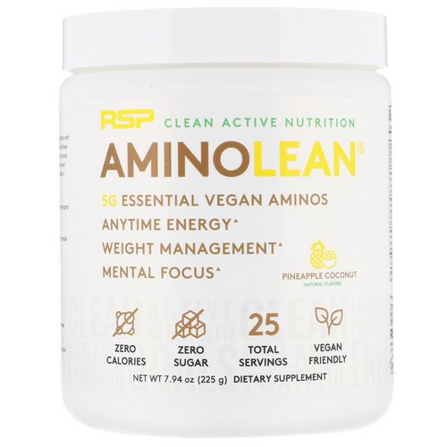 RSP Nutrition, AminoLean, Vegan Aminos, Pineapple Coconut, 7.94 oz (225 g) فوائد