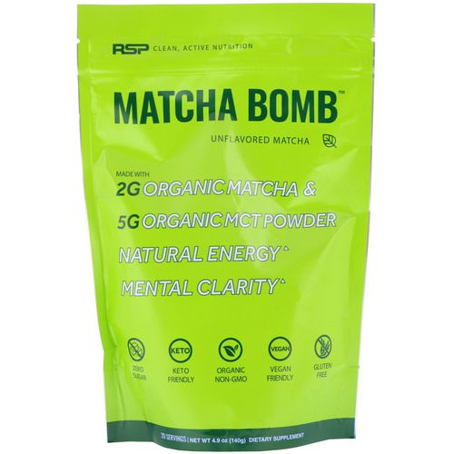 RSP Nutrition, Matcha Bomb, Unflavored Matcha, 4.9 oz (140 g) فوائد