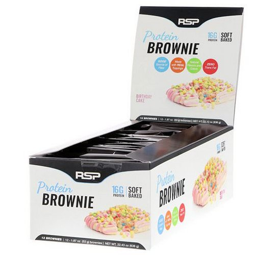 RSP Nutrition, Protein Brownie, Birthday Cake, 12 Brownies, 1.87 oz (53 g) Each فوائد