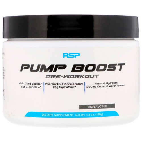 RSP Nutrition, Pump Boost Pre-Workout, Unflavored, 4.8 oz (138 g) فوائد