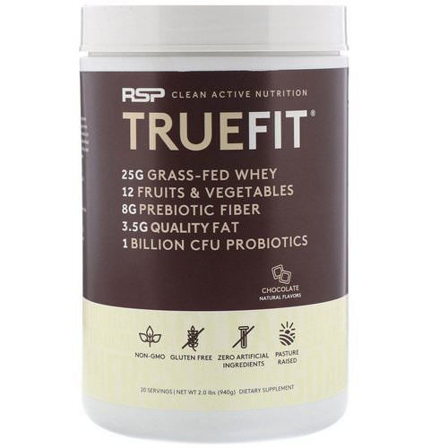 RSP Nutrition, Truefit, Grass-Fed Whey Protein Shake, Chocolate, 2 lbs (940 g) فوائد