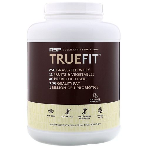 RSP Nutrition, TrueFit, Grass-Fed Whey Protein Shake, Chocolate, 4.23 lbs (1.92 kg) فوائد