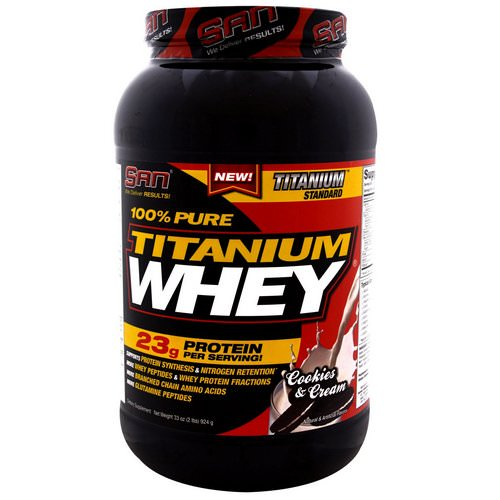 SAN Nutrition, 100% Pure Titanium Whey, Cookies & Cream, 2.06 lbs (924 g) فوائد