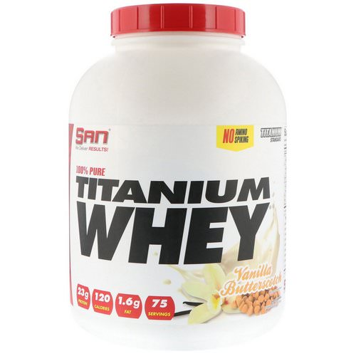 SAN Nutrition, 100% Pure Titanium Whey, Vanilla Butterscotch, 5 lbs (2268 g) فوائد