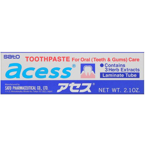 Sato, Acess, Toothpaste for Oral Care, 2.1 oz (60 g) فوائد