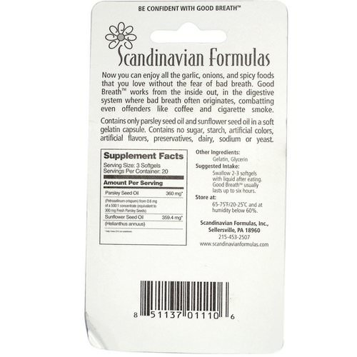 Scandinavian Formulas, Good Breath, 60 Softgels فوائد