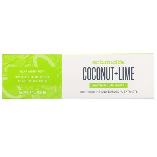 Schmidt's Naturals, Tooth + Mouth Paste, Coconut + Lime, 4.7 oz (133 g) فوائد