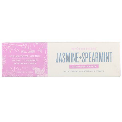 Schmidt's Naturals, Tooth + Mouth Paste, Jasmine + Spearmint, 4.7 oz (133 g) فوائد