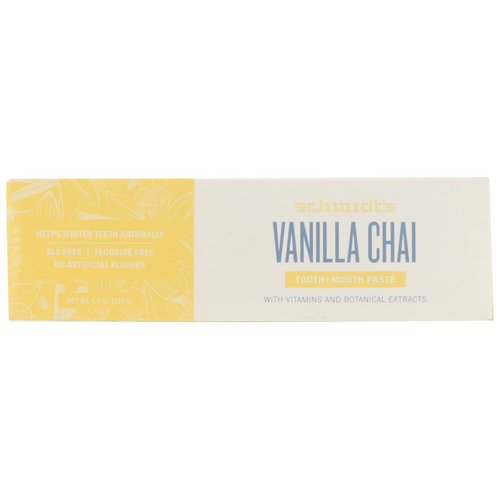 Schmidt's Naturals, Tooth + Mouth Paste, Vanilla Chai, 4.7 oz (133 g) فوائد