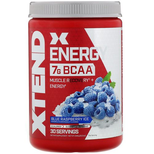 Scivation, Xtend Energy BCAA, Blue Raspberry Ice, 12.3 oz (348 g) فوائد