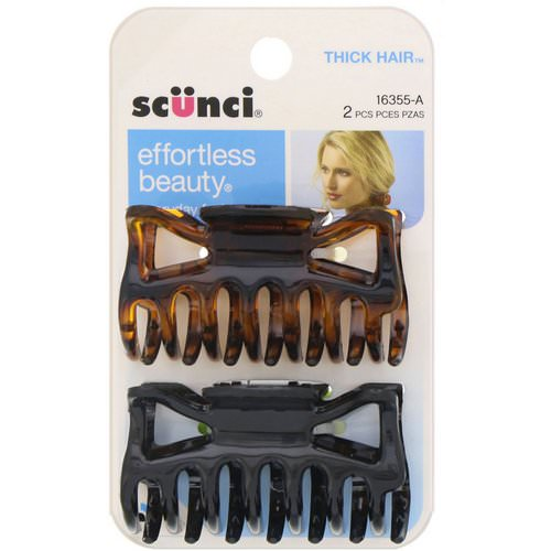 Scunci, Effortless Beauty, Jaw Clips for Thick Hair, 2 Pieces فوائد