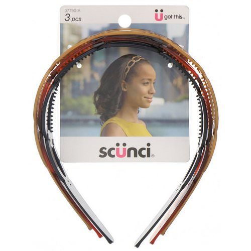 Scunci, Oval Headbands, Assorted Colors, 3 Pieces فوائد