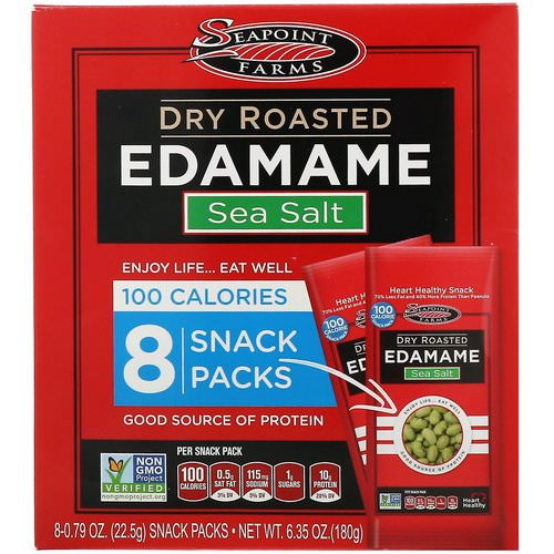 Seapoint Farms, Dry Roasted Edamame, Sea Salt, 8 Snack Packs, 0.79 oz (22.5 g) Each فوائد