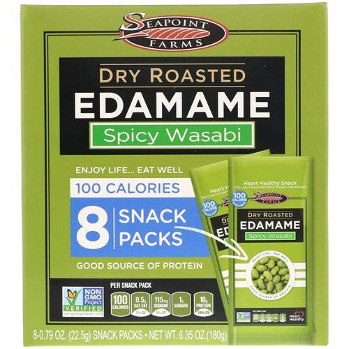 Seapoint Farms, Dry Roasted Edamame, Spicy Wasabi, 8 Snack Packs, 0.79 oz (22.5 g) Each فوائد