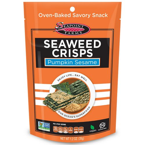 Seapoint Farms, Seaweed Crisps, Pumpkin Sesame, 1.2 oz (35 g) فوائد