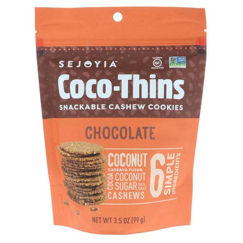 Sejoyia, Coco-Thins, Snackable Cashew Cookies, Chocolate, 3.5 oz (99 g) فوائد