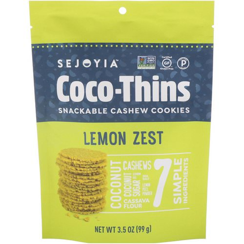 Sejoyia, Coco-Thins, Snackable Cashew Cookies, Lemon Zest, 3.5 oz (99 g) فوائد