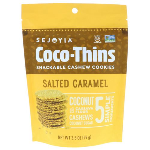 Sejoyia, Coco-Thins, Snackable Cashew Cookies, Salted Caramel, 3.5 oz (99 g) فوائد