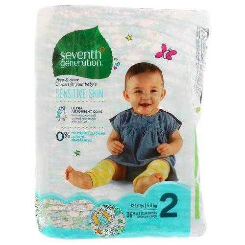 Seventh Generation, Baby, Free & Clear Diapers, Size 2, 12-18 Pounds (5-8 kg), 36 Diapers فوائد