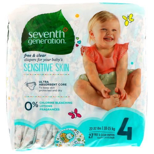 Seventh Generation, Baby, Free & Clear Diapers, Size 4, 22-32 Pounds (10-15 kg), 27 Diapers فوائد