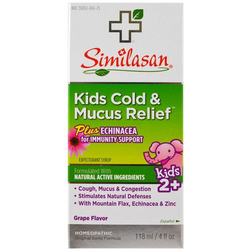 Similasan, Kids Cold & Mucus Relief, with Echinacea, Grape, 4 fl oz (118 ml) فوائد
