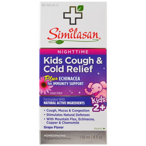 Similasan, Kids Cough & Cold Relief, Nighttime, Grape, 4 fl oz (118 ml) فوائد