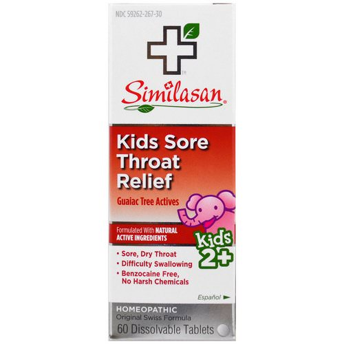 Similasan, Kids Sore Throat Relief, Guaiac Tree Actives, 2+, 60 Dissolvable Tablets فوائد