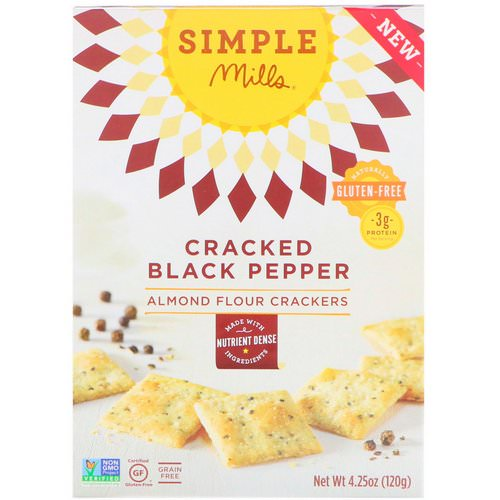 Simple Mills, Naturally Gluten-Free, Almond Flour Crackers, Cracked Black Pepper, 4.25 oz (120 g) فوائد