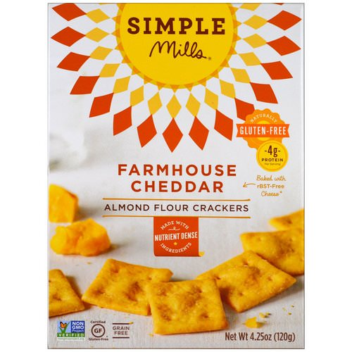 Simple Mills, Naturally Gluten-Free, Almond Flour Crackers, Farmhouse Cheddar, 4.25 oz (120 g) فوائد