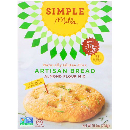 Simple Mills, Naturally Gluten-Free, Almond Flour Mix, Artisan Bread, 10.4 oz (294 g) فوائد