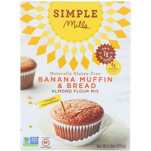 Simple Mills, Naturally Gluten-Free, Almond Flour Mix, Banana Muffin & Bread, 9 oz (255 g) فوائد