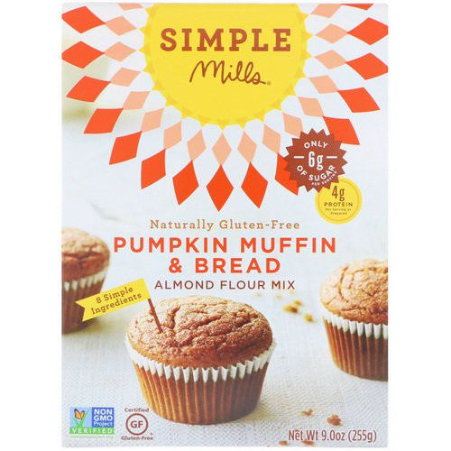 Simple Mills, Naturally Gluten-Free, Almond Flour Mix, Pumpkin Muffin & Bread, 9.0 oz (255 g) فوائد