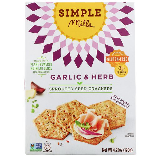 Simple Mills, Sprouted Seed Crackers, Garlic & Herb, 4.25 oz (120 g) فوائد