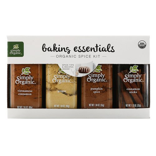 Simply Organic, Baking Essentials, Organic Spice Kit, Variety Pack, 4 Spices فوائد