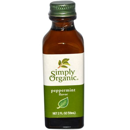 Simply Organic, Peppermint Flavor, 2 fl oz (59 ml):مقتطفات, مكسبات طعم