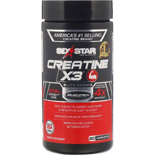 Six Star, Elite Series, Creatine X3, 60 Caplets فوائد