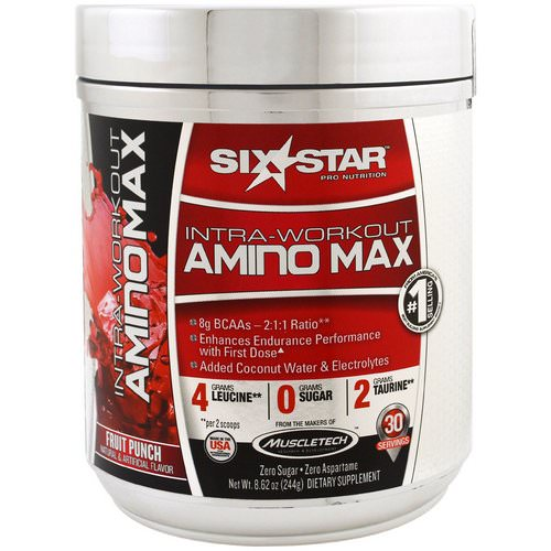 Six Star, Intra-Workout Amino Max, Fruit Punch, 8.62 oz (244 g) فوائد