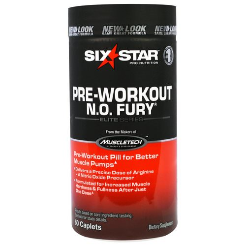 Six Star, Six Star Pro Nutrition, Pre-Workout, N.O. Fury, Elite Series, 60 Caplets فوائد