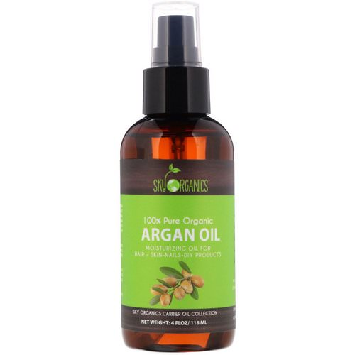 Sky Organics, 100% Pure Organic, Argan Oil, 4 fl oz (118 ml) فوائد