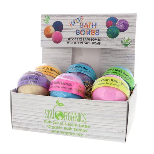 Sky Organics, Kids Bath Bombs with Surprise Toys, 6 Bath Bombs فوائد