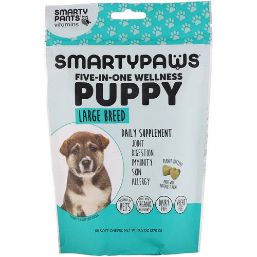 SmartyPants, SmartyPaws, Five-In-One Wellness, Puppy, Large Breed, 60 Soft Chews فوائد